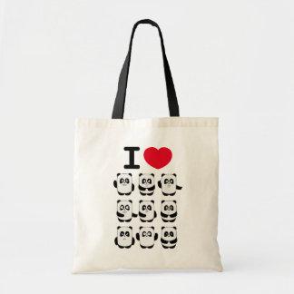 Amo el bolso de la panda bolsa tela barata