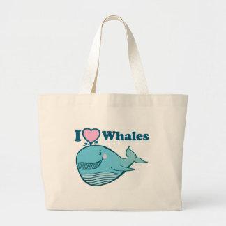 Amo el bolso de las ballenas bolsa tela grande
