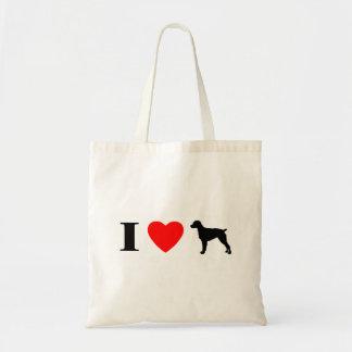 Amo el bolso de los perros de aguas de Bretaña Bolsa Tela Barata