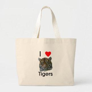 Amo el bolso de los tigres bolsa tela grande