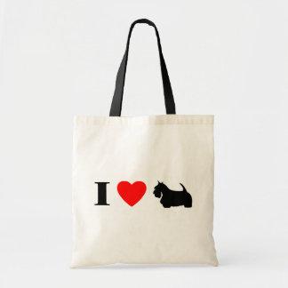 Amo el bolso escocés de los terrieres bolsas de mano