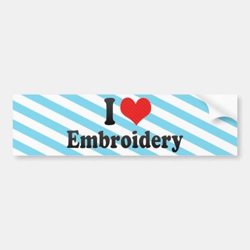 Amo el bordado etiqueta de parachoque