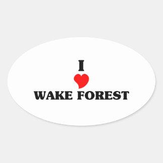 Amo el bosque de la estela pegatina ovalada