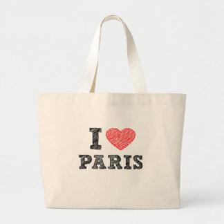 Amo el bosquejo de París Bolsa Tela Grande