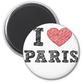Amo el bosquejo de París Imán Redondo 5 Cm