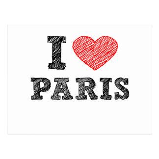 Amo el bosquejo de París Tarjetas Postales