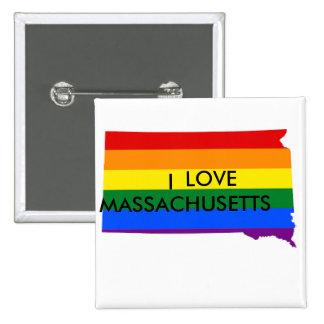 Amo el botón cuadrado de Massachusetts