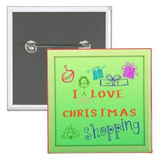 Amo el botón cuadrado que hace compras del navidad pin
