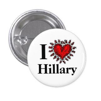 Amo el botón de Hillary Pin Redondo De 1 Pulgada
