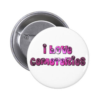 Amo el botón de la púrpura de los cementerios pin redondo de 2 pulgadas