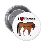 Amo el botón de los caballos pin