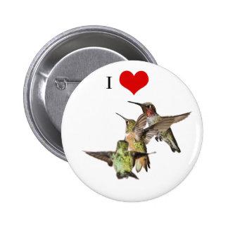 Amo el botón de los colibríes pin redondo de 2 pulgadas