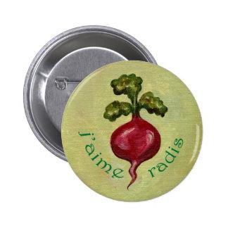 Amo el botón de los rábanos pin redondo de 2 pulgadas