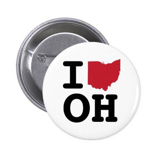 Amo el botón de Ohio Pin Redondo De 2 Pulgadas