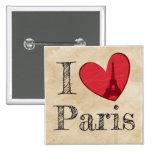 Amo el botón de París Pin