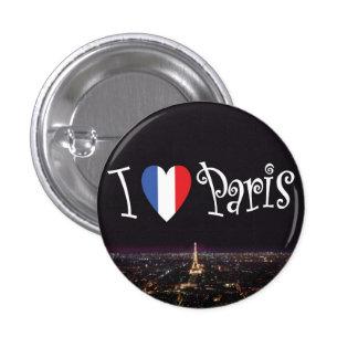 Amo el botón de París Pin Redondo De 1 Pulgada