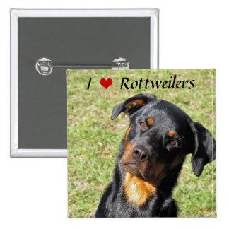 Amo el botón de Rottweilers Pin Cuadrado