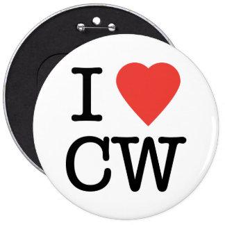 Amo el botón del CW Pin Redondo De 6 Pulgadas