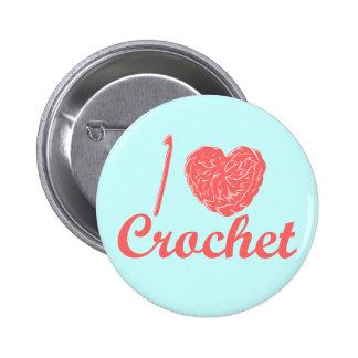 Amo el botón del ganchillo pin redondo de 2 pulgadas