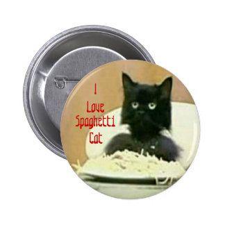 Amo el botón del gato de los espaguetis pin redondo de 2 pulgadas