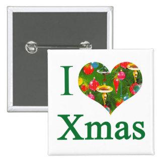 Amo el botón del navidad pin