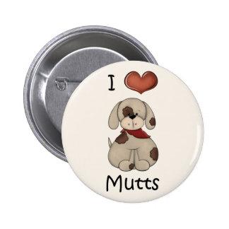 Amo el botón del perro del muchacho de los Mutts