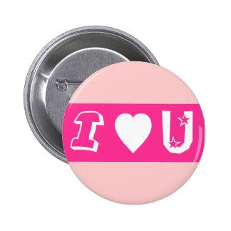 Amo el botón/la insignia de U Pin Redondo De 2 Pulgadas