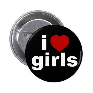 Amo el botón negro de los chicas pin redondo de 2 pulgadas