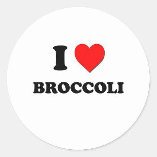 Amo el bróculi pegatina redonda