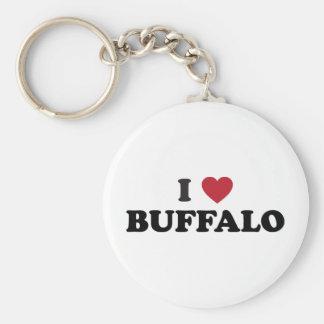 Amo el búfalo llavero redondo tipo pin
