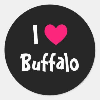 Amo el búfalo etiqueta redonda