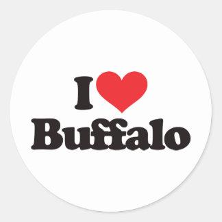 Amo el búfalo pegatina redonda