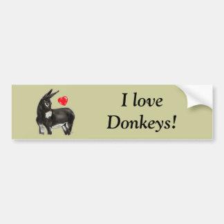 Amo el burro comedido de los burros pegatina para auto