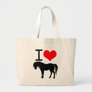 Amo el caballo bolsa de tela grande