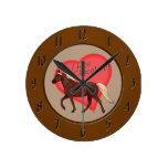 Amo el caballo de la montaña rocosa del chocolate reloj de pared