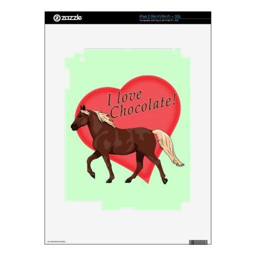 Amo el caballo de la montaña rocosa del chocolate iPad 2 skins