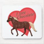 Amo el caballo de la montaña rocosa del chocolate tapete de raton