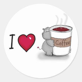 Amo el café - coffe de los amores del hipopótamo etiqueta redonda