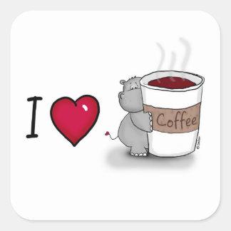 Amo el café - coffe de los amores del hipopótamo pegatina cuadrada