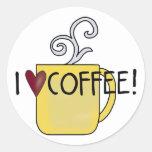 Amo el café etiqueta redonda