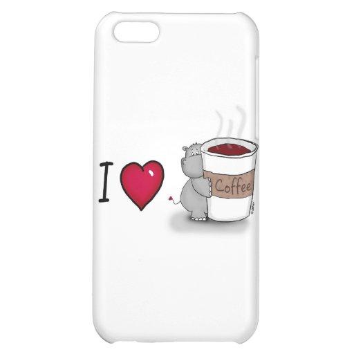 Amo el café - hipopótamo con una taza de café