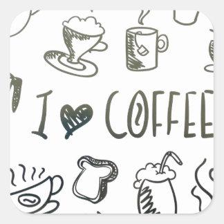 Amo el café pegatina cuadrada