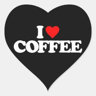 AMO EL CAFÉ PEGATINA EN FORMA DE CORAZÓN