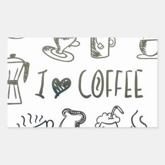 Amo el café pegatina rectangular
