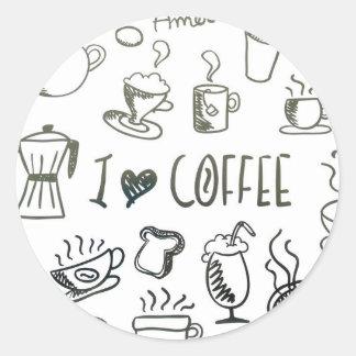 Amo el café pegatina redonda