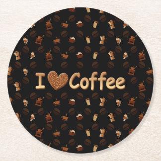 Amo el café posavasos desechable redondo