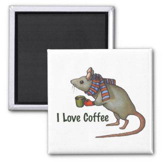Amo el café: Ratón: Arte a pulso original Imán Cuadrado