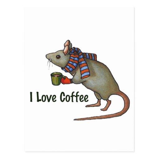Amo el café: Ratón: Arte a pulso original Postal
