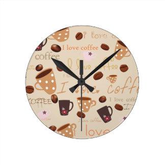 ¡amo el café! reloj redondo mediano