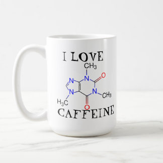 Amo el cafeína taza básica blanca